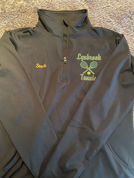 Sports-Tek Ladies Black  Stretch 1/2-Zip Pullover W/ LYNBROOK TENNIS LOGO EMBROIDERED