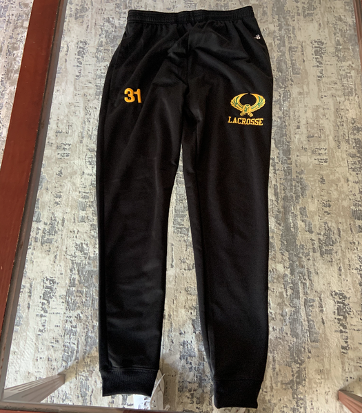 *** NEW FOR 2021 *** Black Badger Jogger  Pants w/ logo embroidered and number on other leg