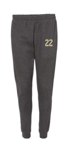 BADGER CHARCOAL UNISEX JOGGERS  W/ GOLD NUMBERS