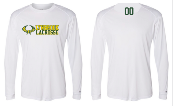 Long Sleeve Dri Fit  Shirts  w/ Lynbrook Lax on Front & Small Number on Back
