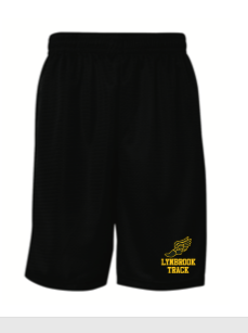 Lynbrook Track Black Shorts w/ Embroidered logo