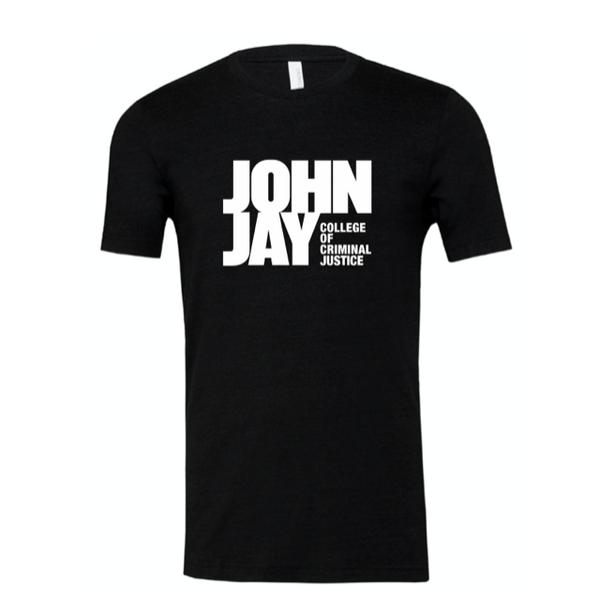 BELLA BLACK SHORT SLEEVE TRI BLEND  UNISEX COTTON SHIRT w/ JOHN JAY COLLEGE LOGO