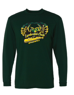 Long Sleeve Dri Fit  Shirts  w/ Lynbrook Baseball on Front & Small Number on Back