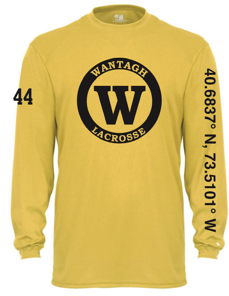 Gold Badger Long Sleeve Dri Fit w/ Warrior Logo Full Front & Numbers on Sleeve