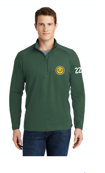 HUNTER GREEN   LYNBROOK  LAX UNISEX 1/4 ZIP WITH LOGO EMBROIDERED AND NUMBERS ON SLEEVE