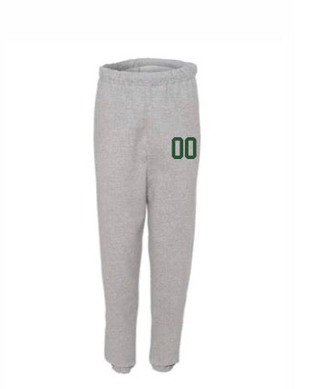 POWER-TEK GREY SWEATPANTS JUST NUMBER ON LEG