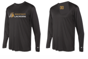 Black Badger Long Sleeve Dri Fit w/ Warrior Logo Full Front & Numbers on BACK YOKE