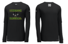 Lynbrook Baseball Nike Black Long Sleeve T-shirt w/ number on back yoke