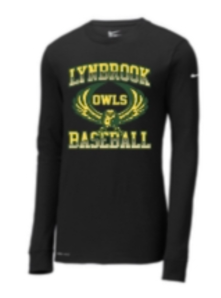 Lynbrook Baseball Nike Black Long Sleeve T-shirt w/ name and number