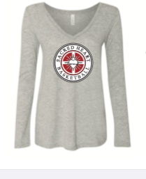 BELLA  GREY  LADIES LONG SLEEVE  SLEEVE TRI BLEND COTTON SHIRT
