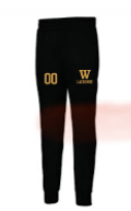 Black Badger Jogger  Pants w/ logo embroidered and number on other leg