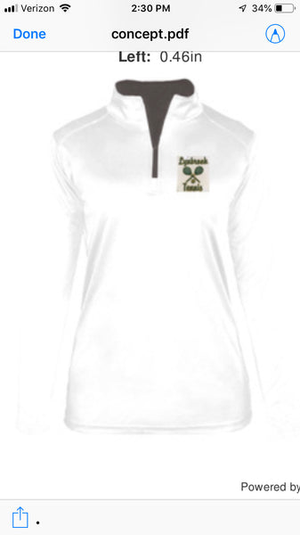 Badger  Ladies White  Stretch 1/2-Zip Pullover W/ LYNBROOK TENNIS LOGO EMBROIDERED