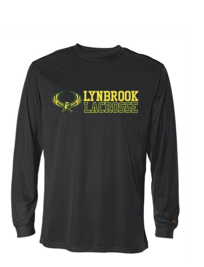 BLACK Long Sleeve Dri Fit  Shirts  w/ Lynbrook Lax on Front & Small Number on Back