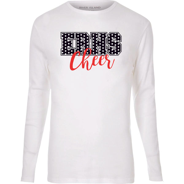 WHITE LONG SLEEVE UNISEX W/ TWO COLOR  CHEER LOGO