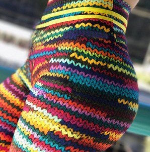 Rainbow Knitted Pattern Leggings