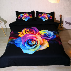 3 Rainbow Rose Bedding set