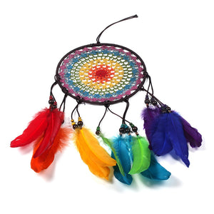 Special Deal Handmade Rainbow Feather Dream Catcher & Free Rainbow Pin