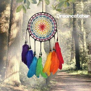 Handmade Rainbow Feather Dream Catcher