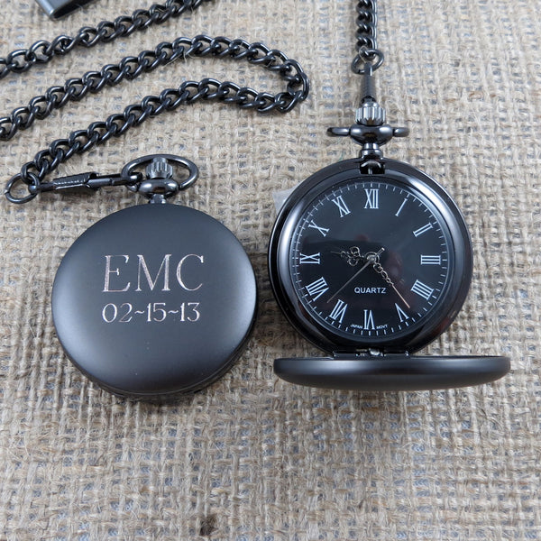 Gun metal Personalized Pocket Watch