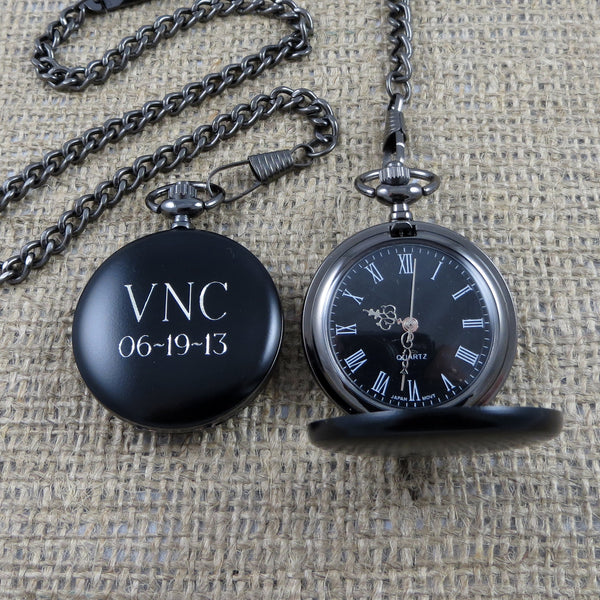 Black Personalized Pocket Watch