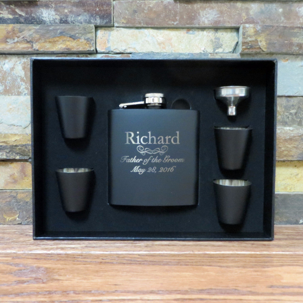 Personalized Flask Set with Shot Glasses