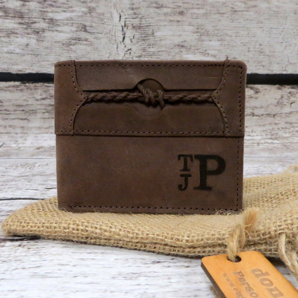 Braided Accent Personalized Leather Wallet