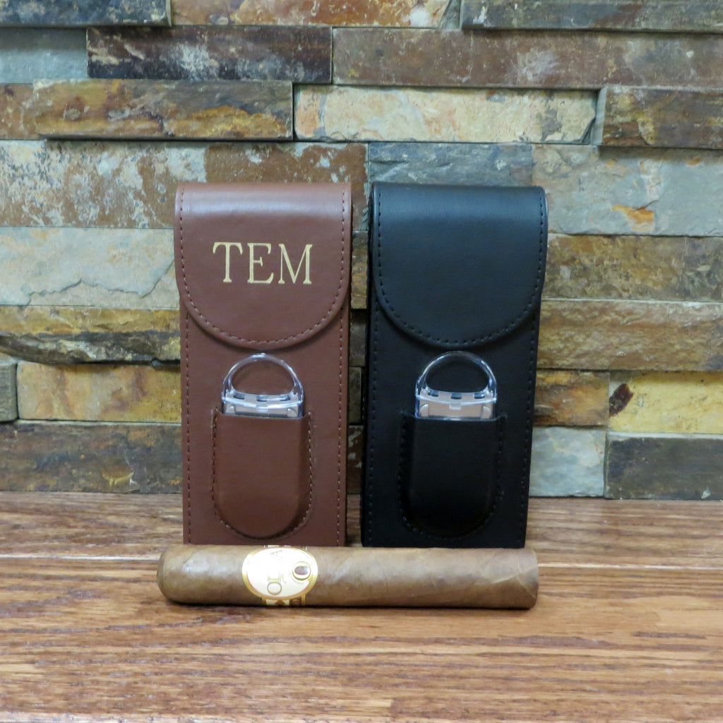 Personalized Cigar Case with Cigar Cutter
