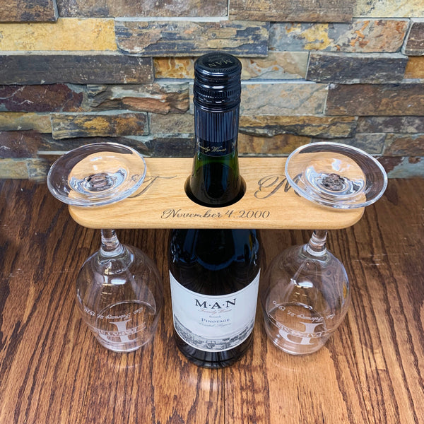Custom Engraved Wood Wine Glass Caddy Wine Butler