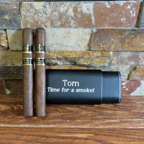 Black Personalized Cigar Case