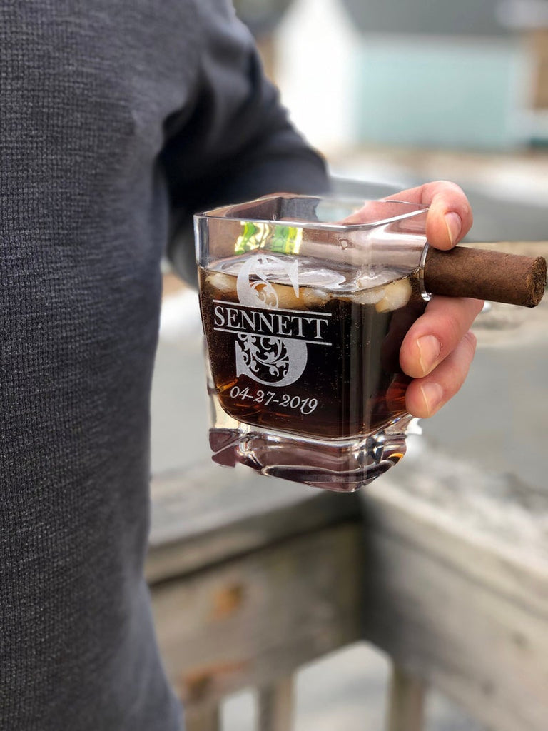 Personalized Cigar Holder Whiskey Glass