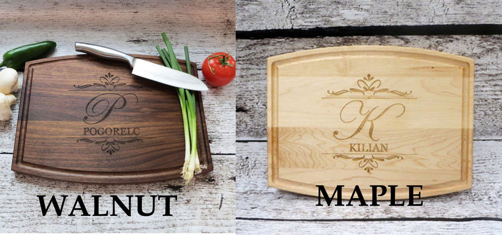 Leaf Designed Wedding Personalized Cutting Board