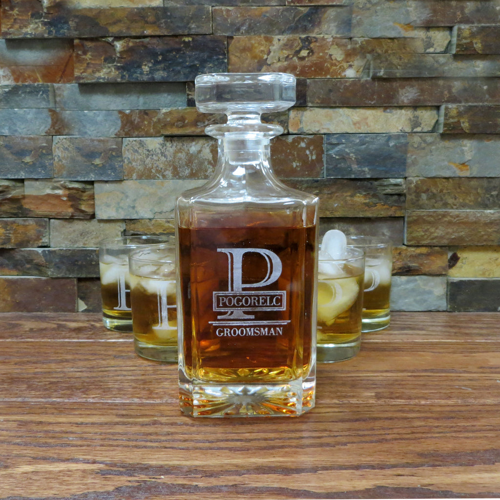 Square Personalized Whiskey Decanter with Tumblers