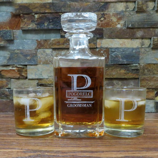 Personalized Square Whiskey Decanter with Glasses