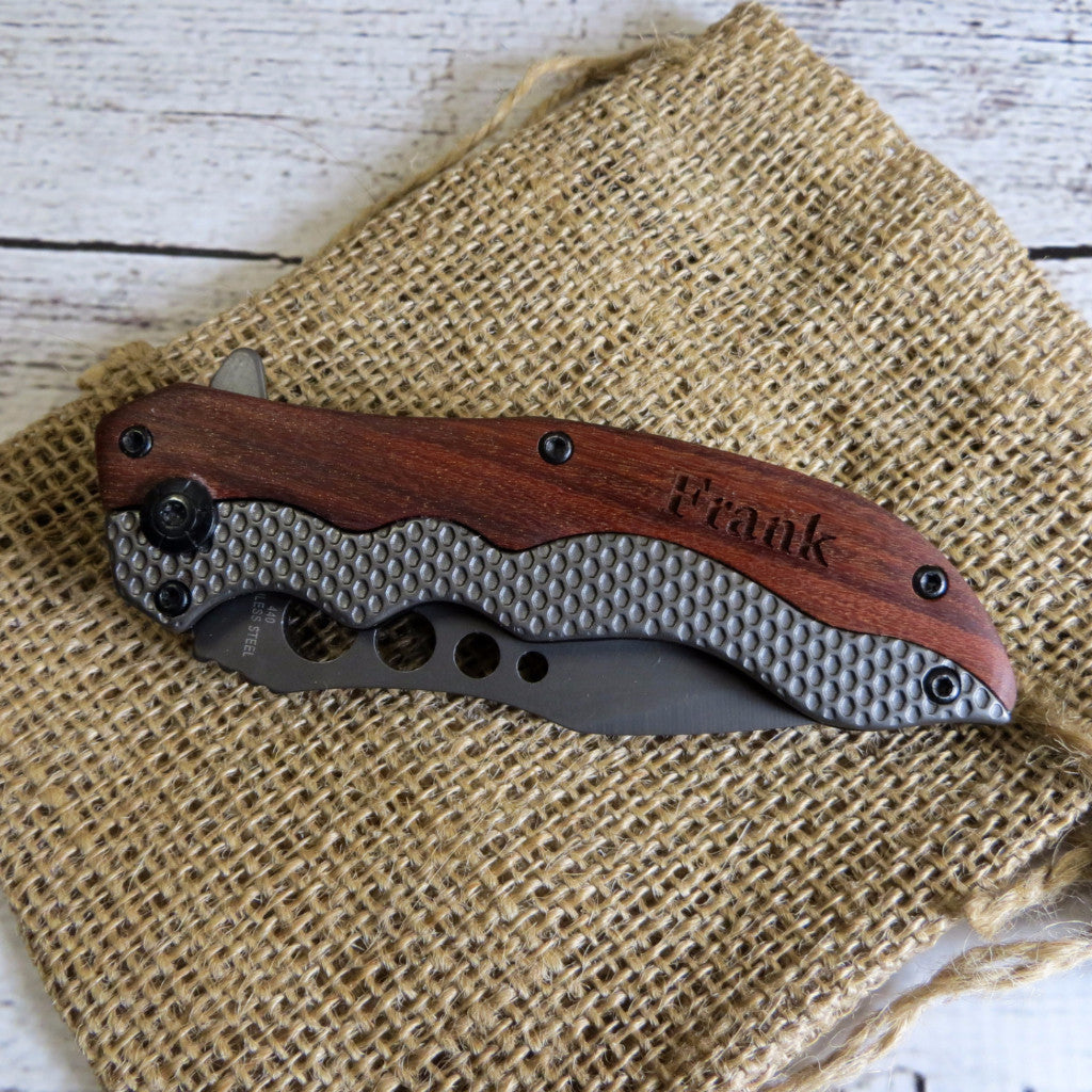 Wood Pocket Knife Personalized
