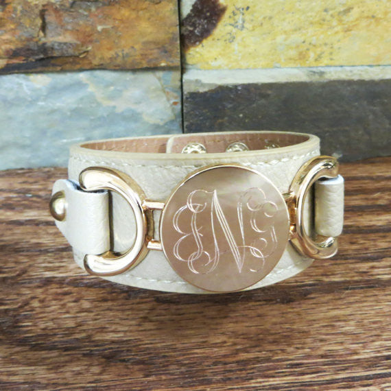 Leather Monogram Bracelet w/ Gold disc
