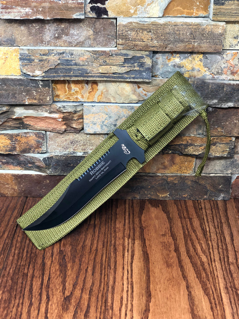 Personalized Hunter Knife w/ Green Para-cord