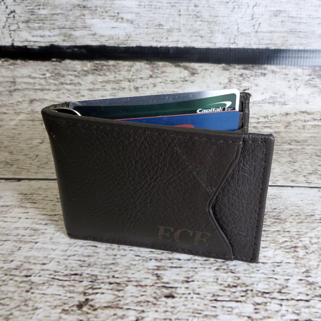 Personalized Leather Wallet w/ Money Clip