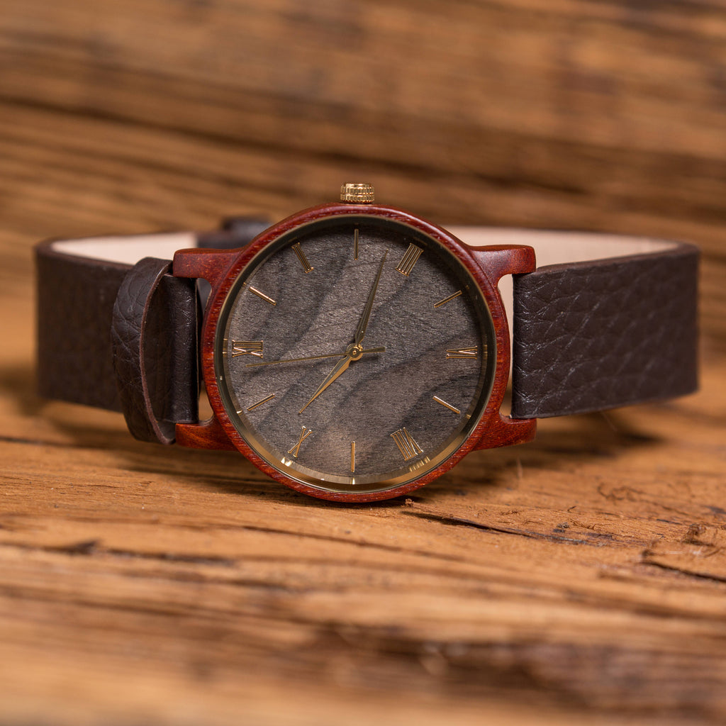 Personalized Wrist Watch with Wooden Face