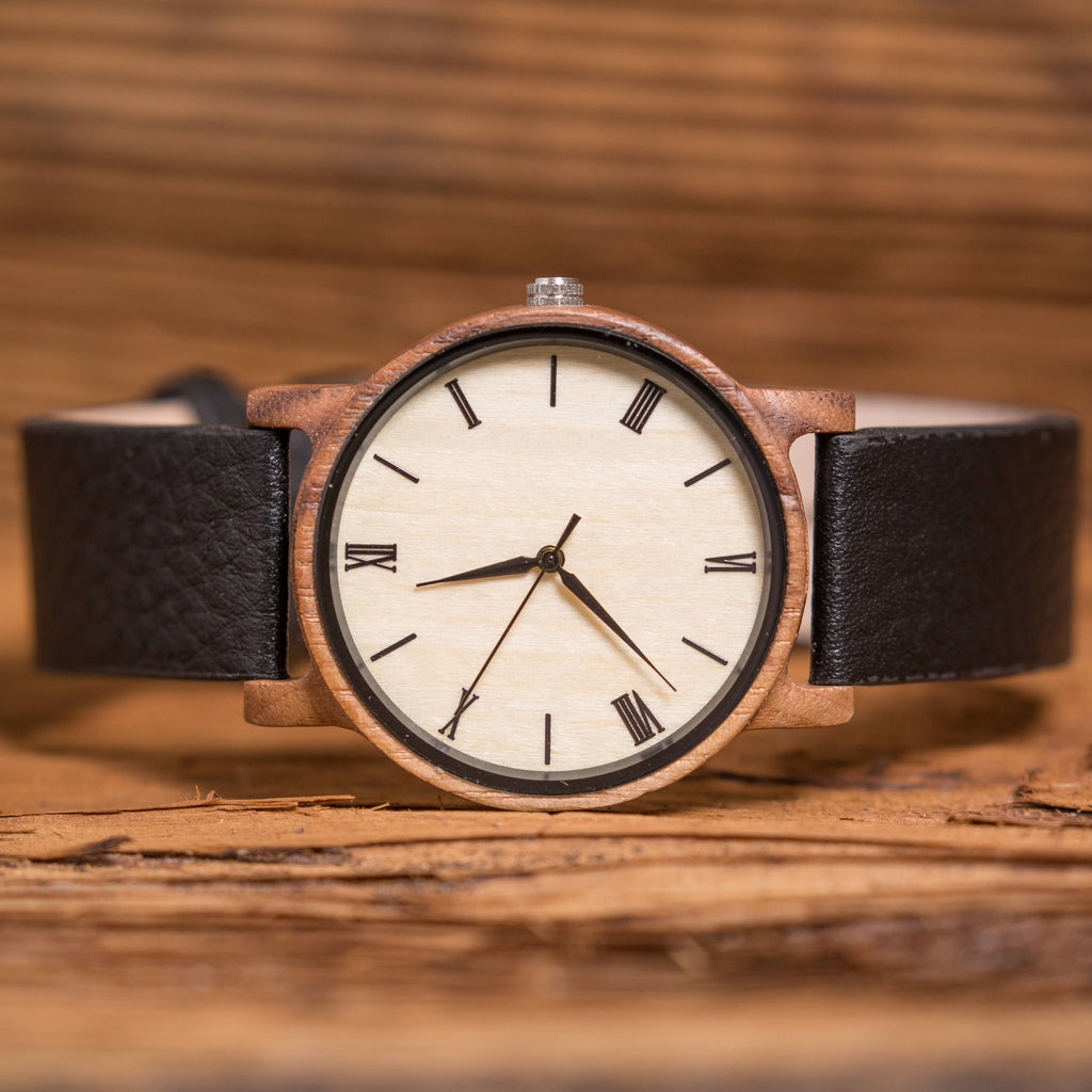 Wood Watch Personalized with Leather Band