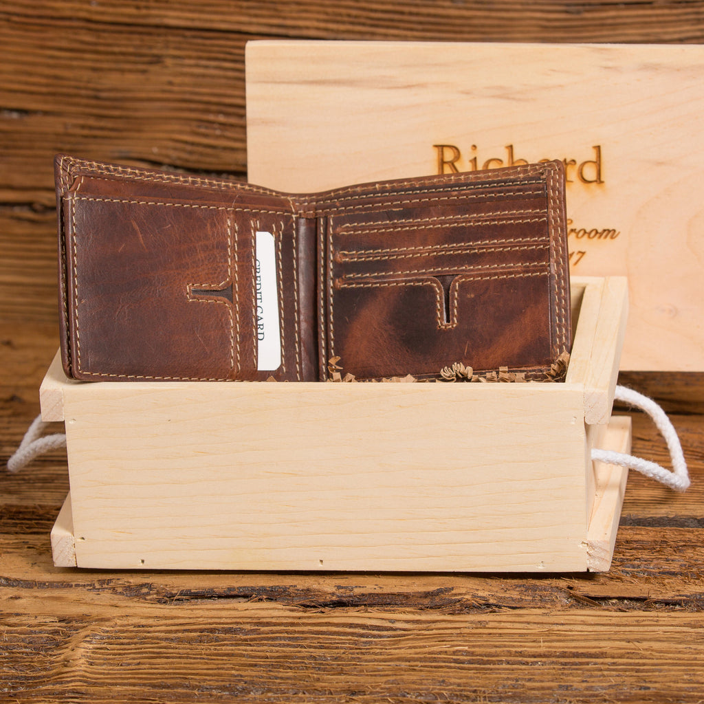 Personalized Wallet with Wooden Crate