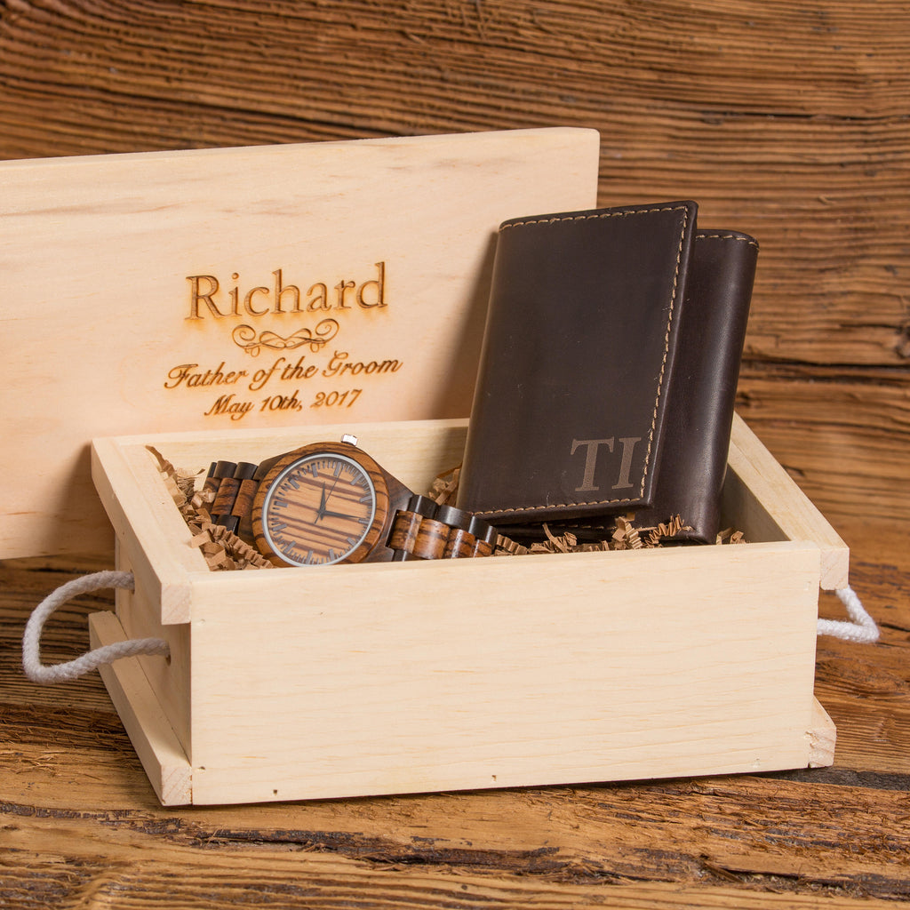 Gift Set Personalized Watch and Monogrammed Wallet