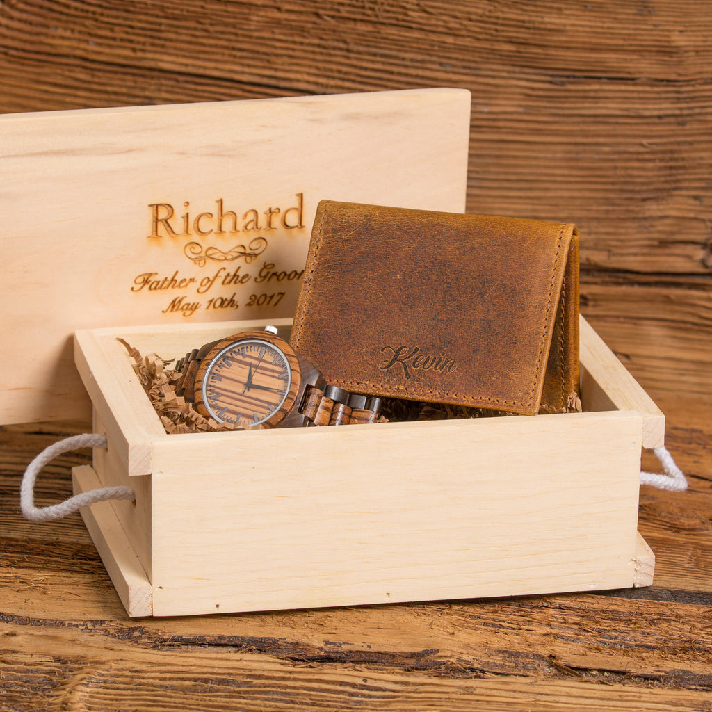 Engraved Custom Wooden Watch and Monogram Leather Wallet Gift Set