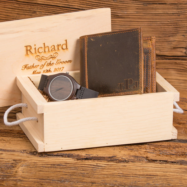 Mens Gift Set with Personalized Wallet and Wood Watch
