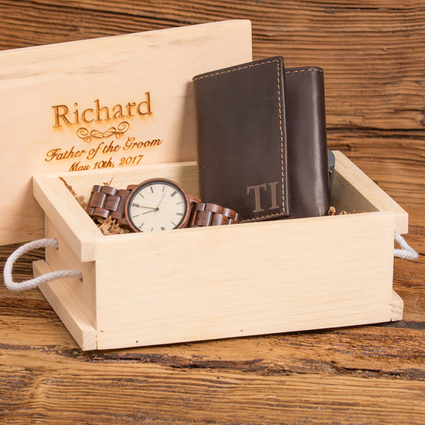 Monogrammed Wallet and Wood Watch Set