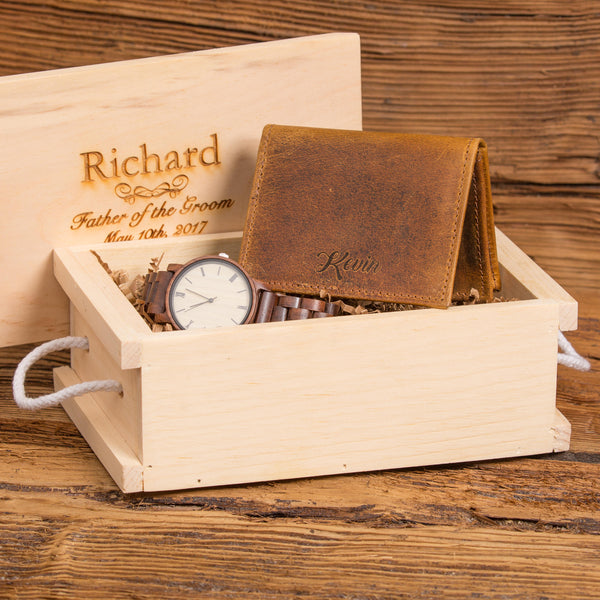 Anniversary Gift Set w/ Personalized Folding Wallet and Wood Watch
