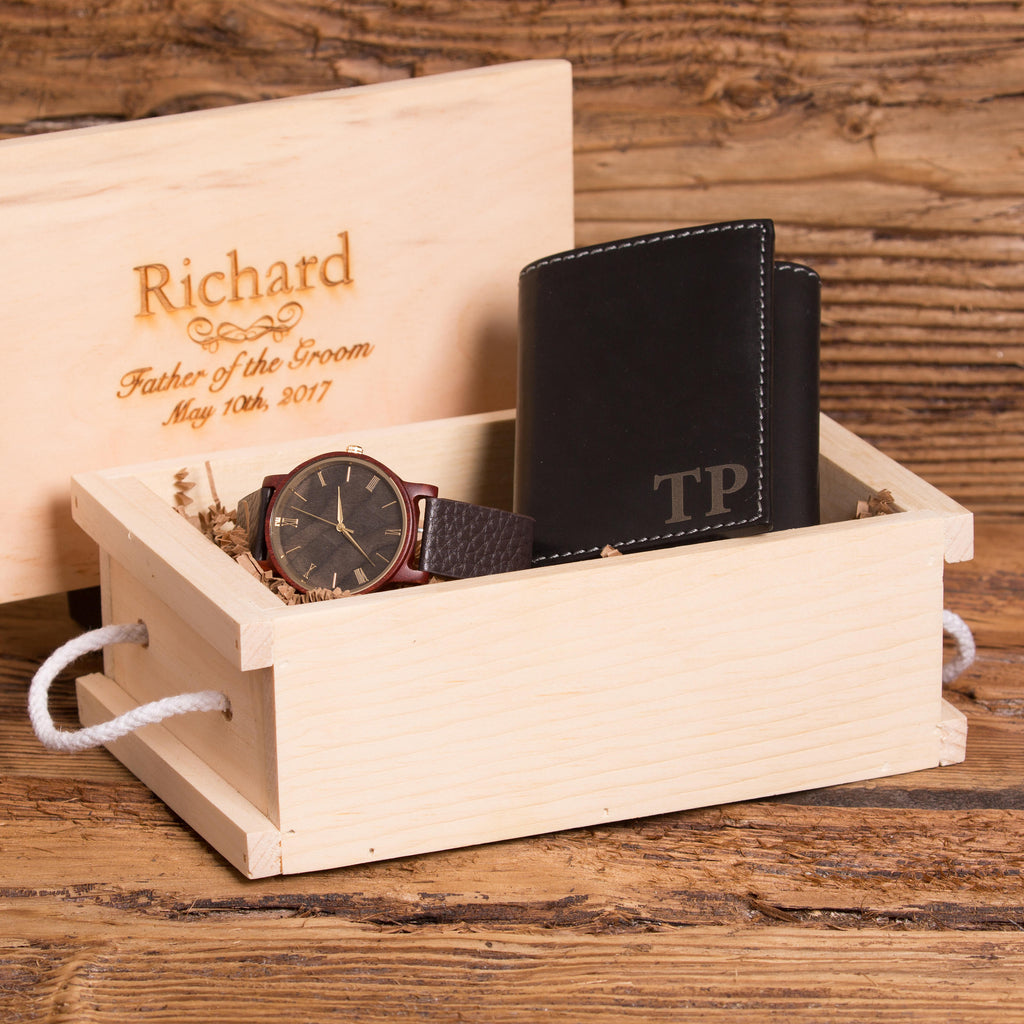 Monogrammed Leather Wallet & Personalized Watch Set
