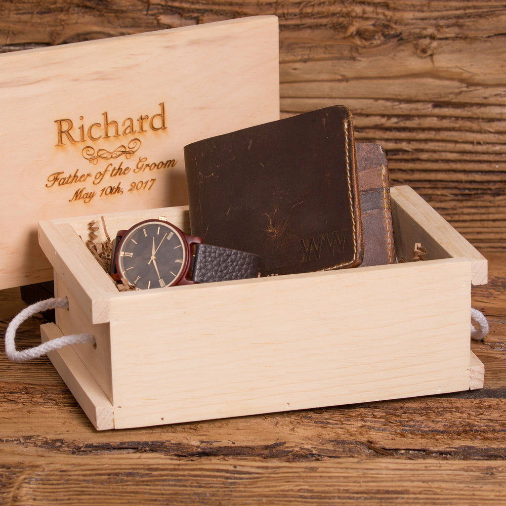 Personalized Wood Watch with Monogrammed Wallet for Him