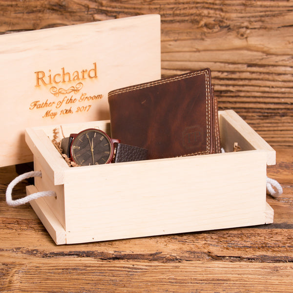 Engraved Wooden Watch with Monogrammed Wallet Set