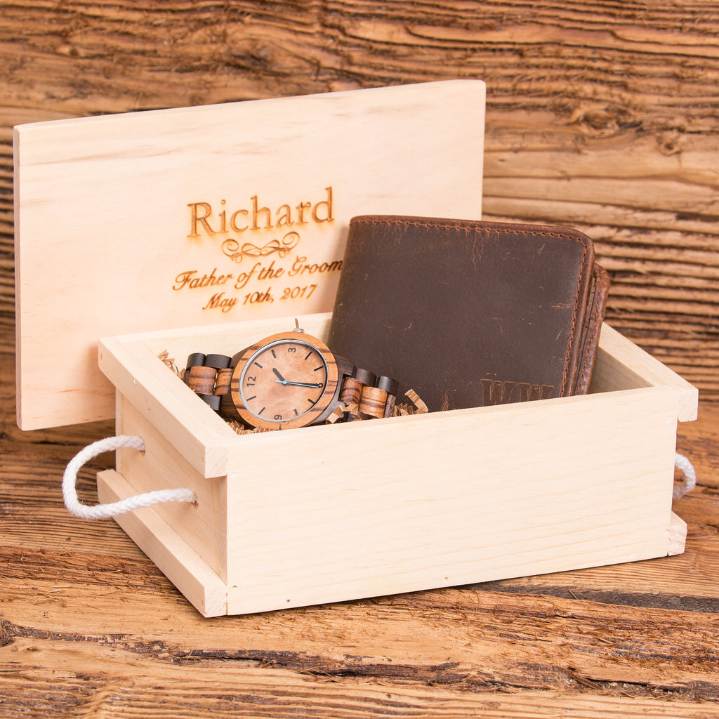 Personalized Wood Watch with Monogrammed Wallet Anniversary Set