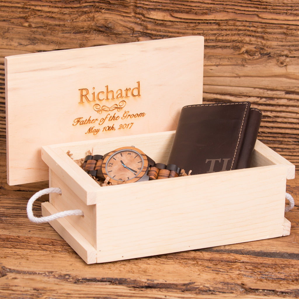 Tri Fold Wallet Monogrammed with Wood Watch Personalized Set